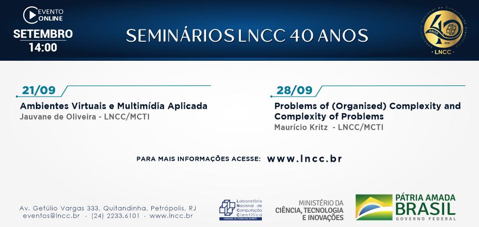 Seminários LNCC 40 anos, programação do ciclo de palestras virtuais no mês de setembro
